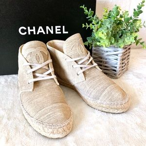 CHANEL Suede Leather High Top Sneaker Espadrilles
